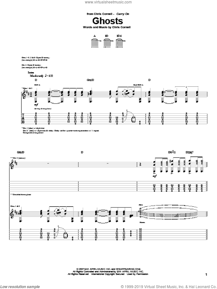Ghosts sheet music for guitar (tablature) by Chris Cornell. Score Image Preview.
