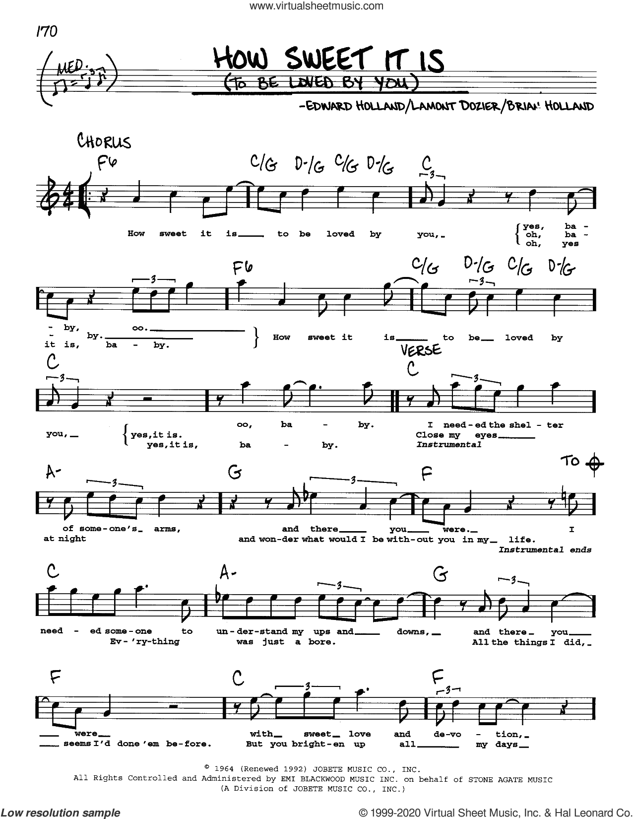 How Sweet It Is (To Be Loved By You) sheet music for voice and other instruments (real book) by Marvin Gaye, James Taylor, Brian Holland, Eddie Holland and Lamont Dozier, intermediate skill level
