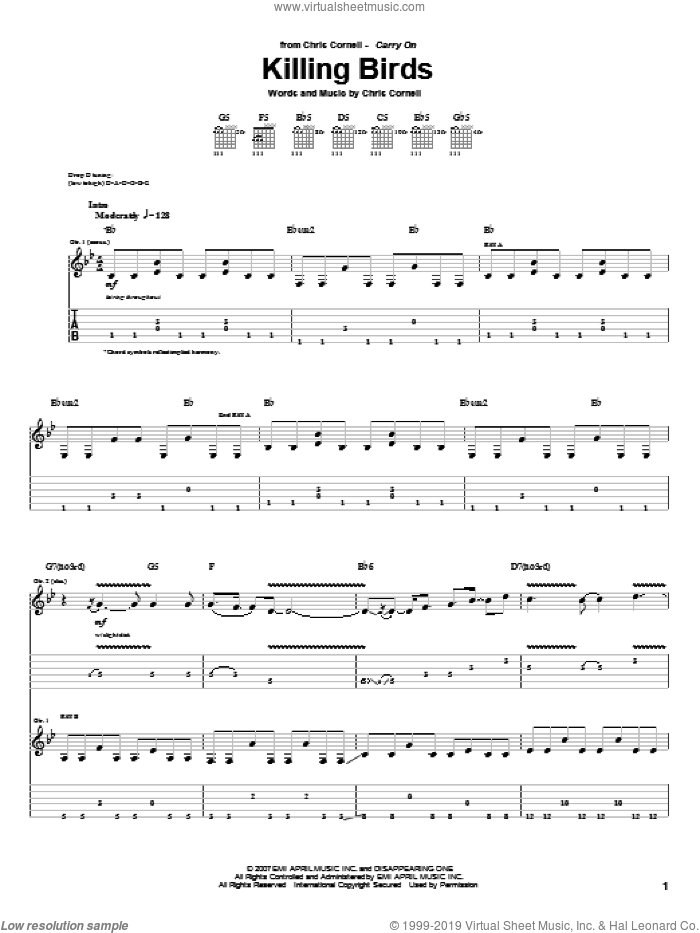 Killing Birds sheet music for guitar (tablature) by Chris Cornell. Score Image Preview.