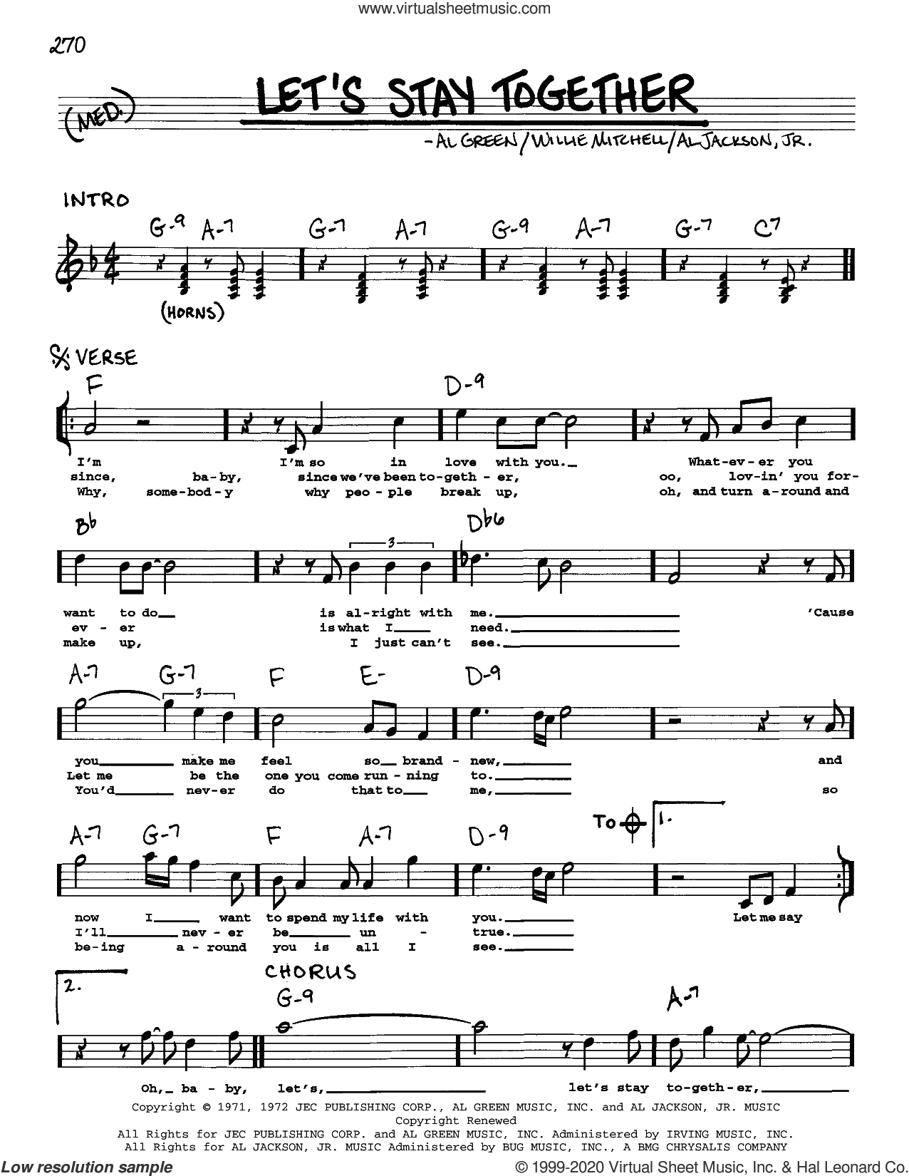 Let's Stay Together sheet music for voice and other instruments (real book) by Al Green, Al Jackson, Jr. and Willie Mitchell, intermediate skill level