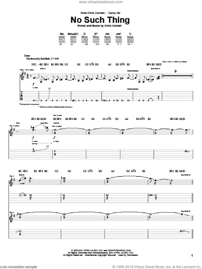 No Such Thing sheet music for guitar (tablature) by Chris Cornell, intermediate skill level