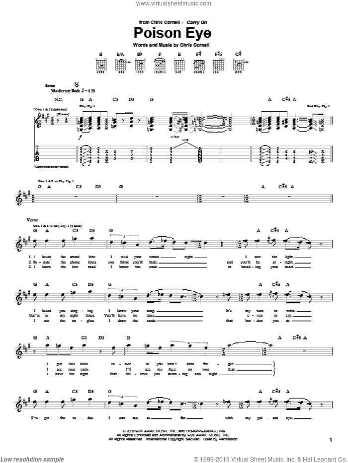 Poison Eye sheet music for guitar (tablature) by Chris Cornell