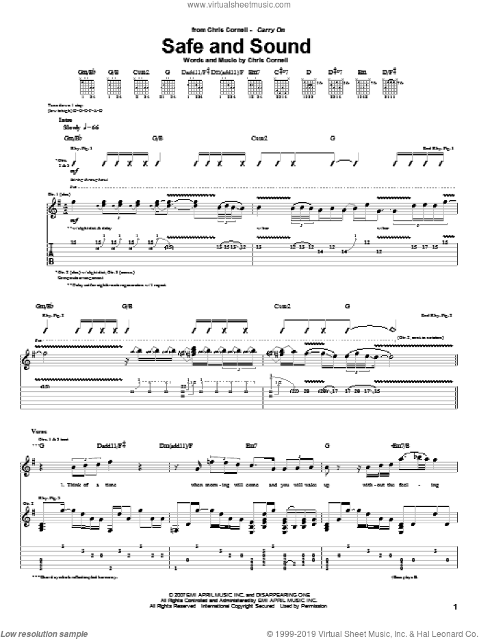 Safe And Sound sheet music for guitar (tablature) by Chris Cornell, intermediate skill level