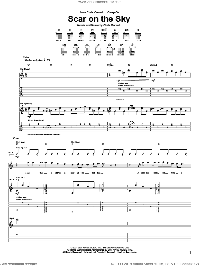 Scar On The Sky sheet music for guitar (tablature) by Chris Cornell, intermediate. Score Image Preview.