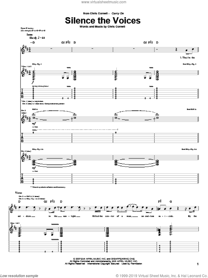 Silence The Voices sheet music for guitar (tablature) by Chris Cornell. Score Image Preview.