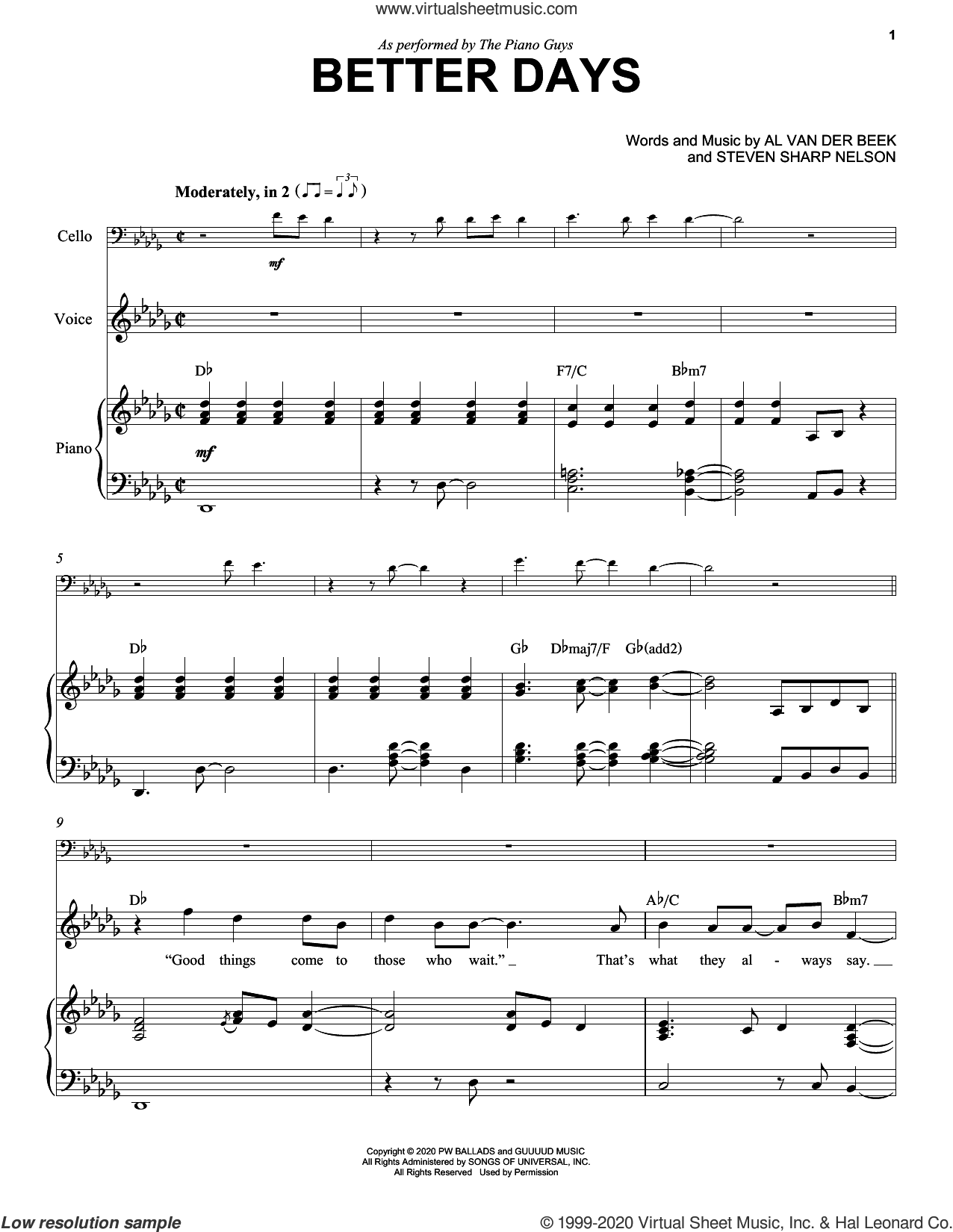 Better Days sheet music for cello and piano by The Piano Guys, Al van der Beek and Steven Sharp Nelson, intermediate skill level