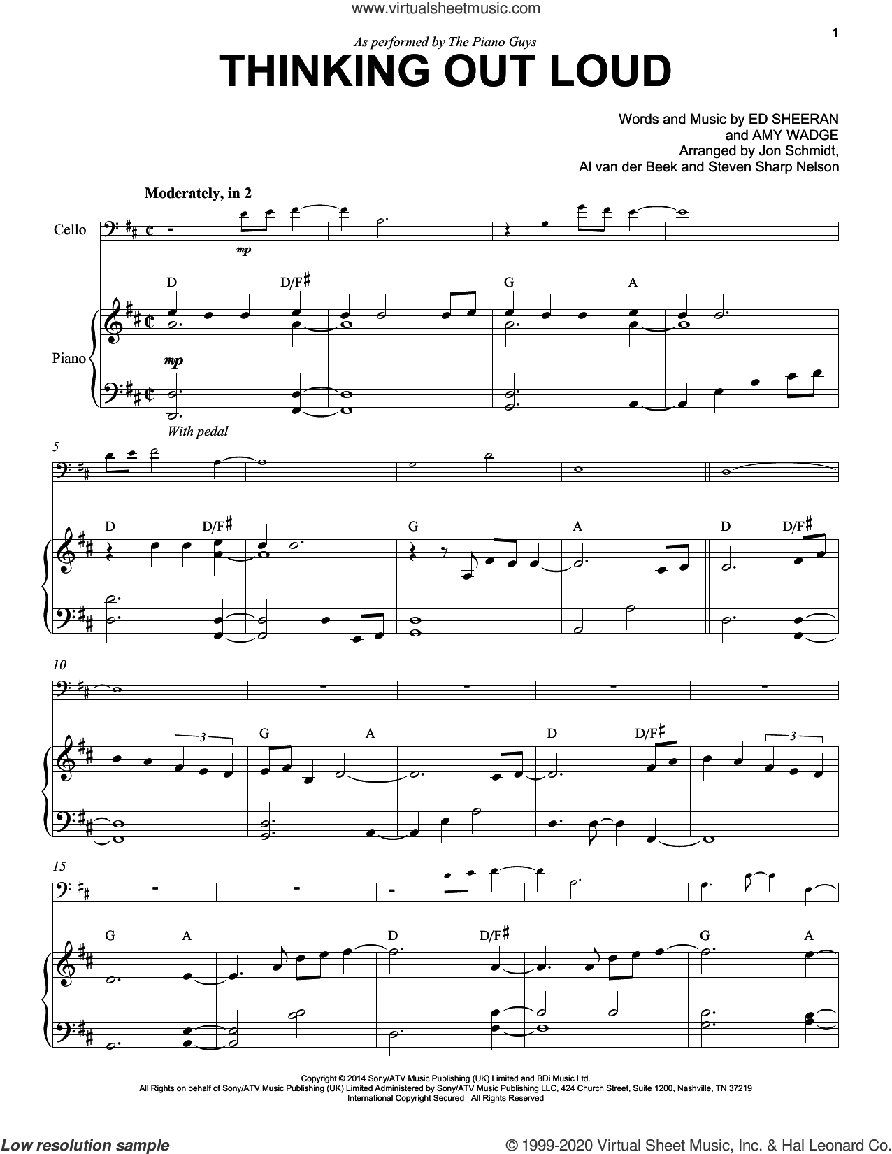 Thinking Out Loud sheet music for cello and piano by The Piano Guys, Al van der Beek, Jon Schmidt, Steven Sharp Nelson, Amy Wadge and Ed Sheeran, wedding score, intermediate skill level
