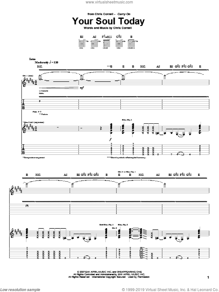 Your Soul Today sheet music for guitar (tablature) by Chris Cornell