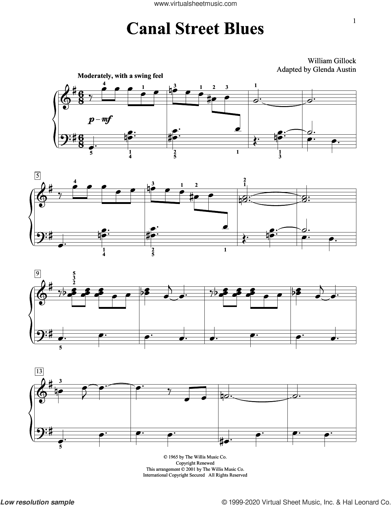 Canal Street Blues (Simplified) (adapted by Glenda Austin) sheet music for piano solo (elementary) by William Gillock and Glenda Austin, beginner piano (elementary)