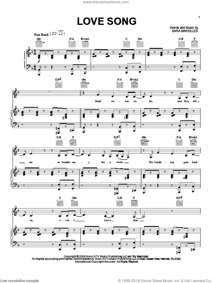 Love Song sheet music for voice, piano or guitar by Sara Bareilles, intermediate skill level