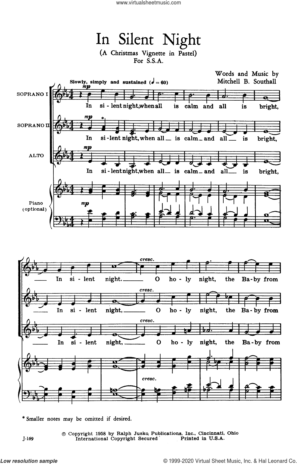 In Silent Night (A Christmas Vignette in Pastel) sheet music for choir (SSA: soprano, alto) by Mitchell B. Southall, intermediate skill level