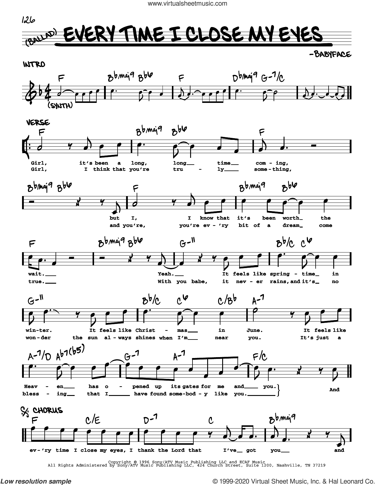 Everytime I Close My Eyes sheet music for voice and other instruments (real book) by Babyface, intermediate skill level