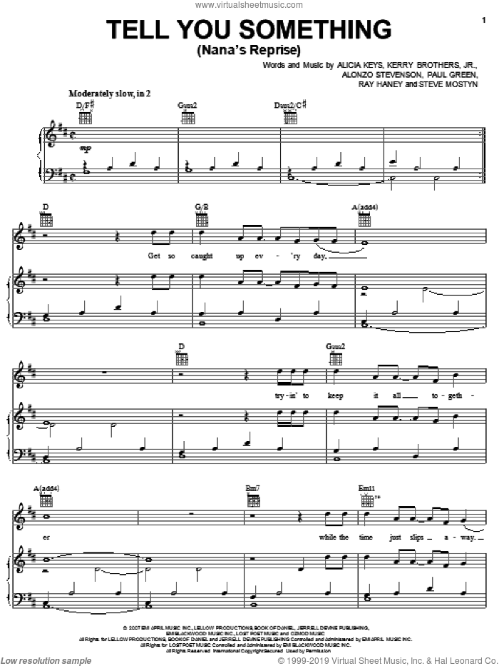 Tell You Something (Nana's Reprise) sheet music for voice, piano or guitar by Steve Mostyn