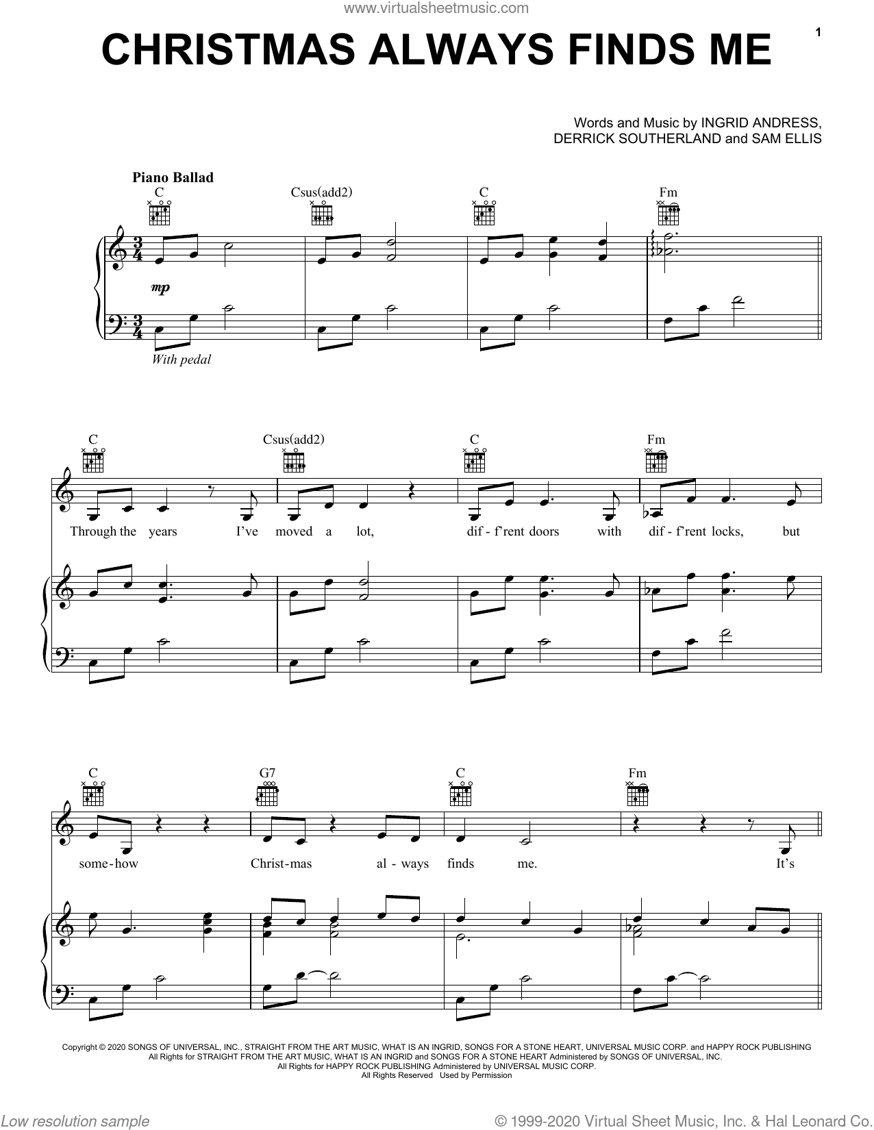 Christmas Always Finds Me sheet music for voice, piano or guitar by Ingrid Andress, Derrick Southerland and Sam Ellis, intermediate skill level