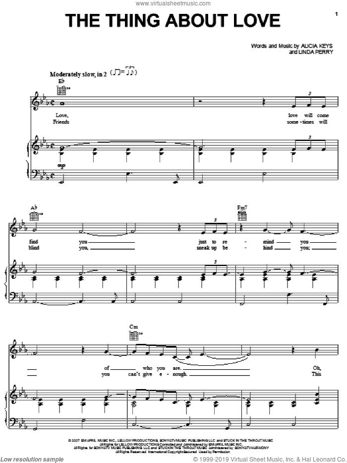 The Thing About Love sheet music for voice, piano or guitar by Alicia Keys and Linda Perry, intermediate skill level