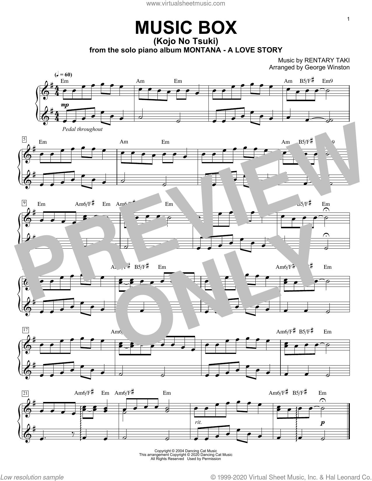 Music Box (Kojo No Tsuki) sheet music for piano solo by George Winston and Rentary Taki, intermediate skill level