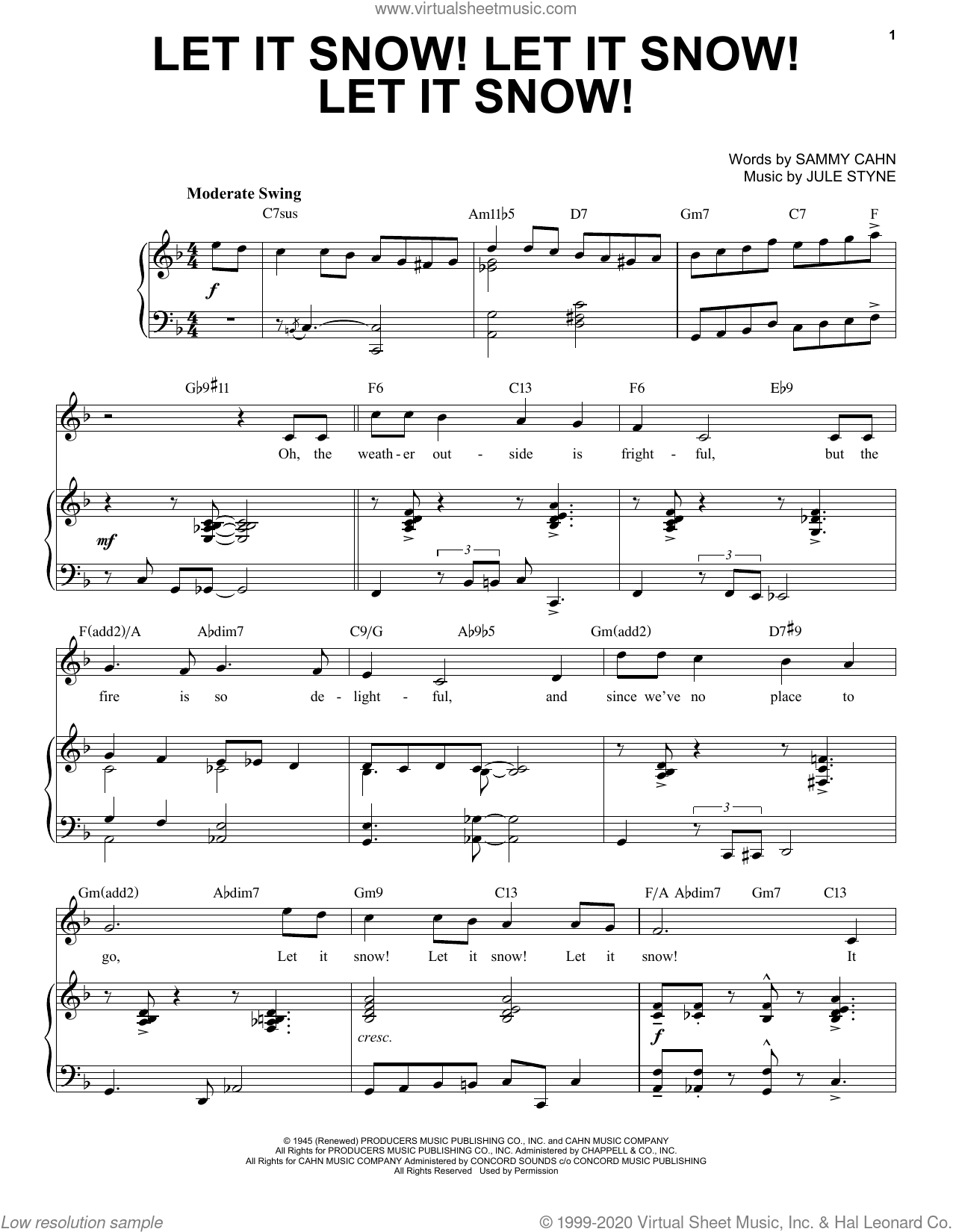 Let It Snow! Let It Snow! Let It Snow! [Jazz Version] (arr. Brent Edstrom) sheet music for voice and piano (High Voice) by Sammy Cahn, Brent Edstrom and Jule Styne, intermediate skill level