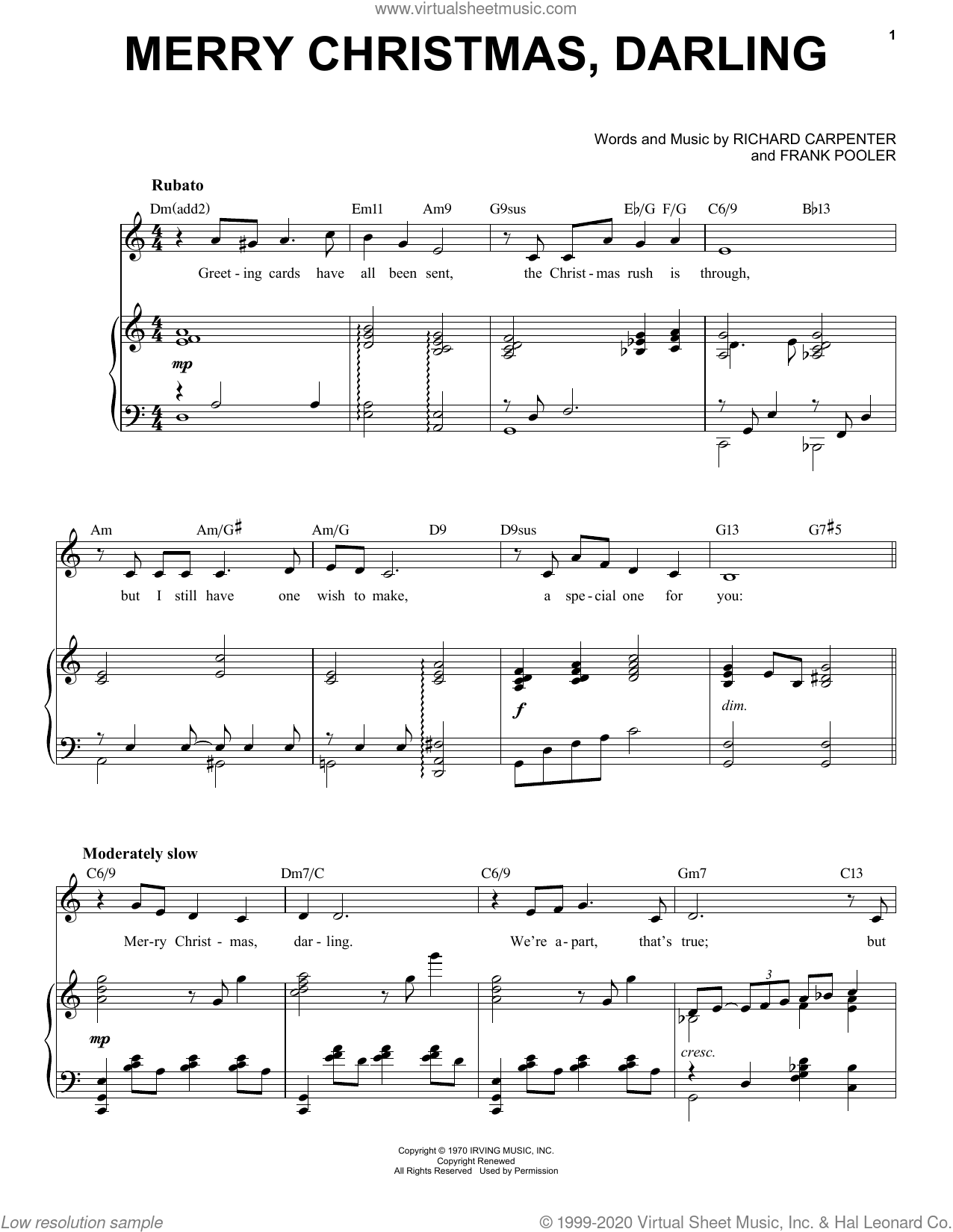 Merry Christmas, Darling [Jazz Version] (arr. Brent Edstrom) sheet music for voice and piano (High Voice) by Richard Carpenter, Brent Edstrom, Carpenters and Frank Pooler, intermediate skill level