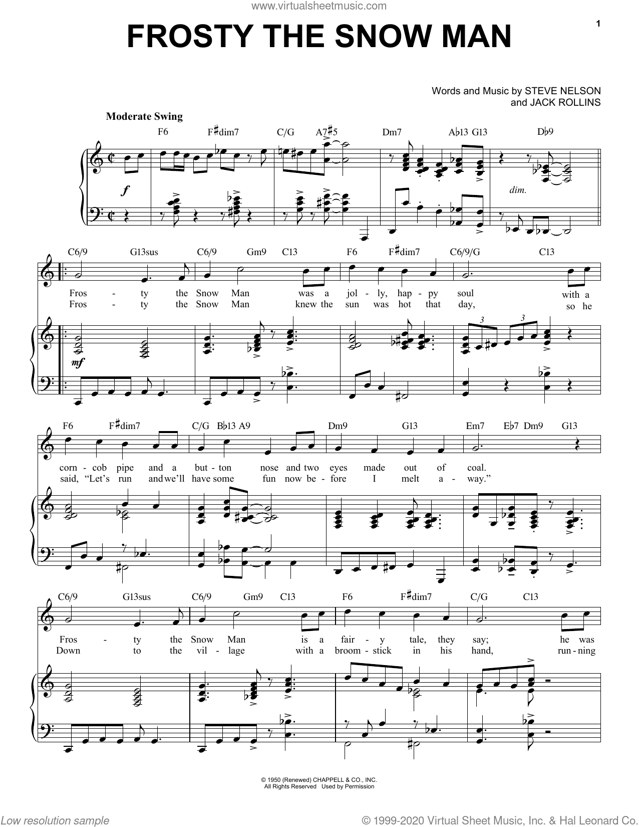 Frosty The Snow Man [Jazz Version] (arr. Brent Edstrom) sheet music for voice and piano (High Voice) by Steve Nelson, Brent Edstrom and Jack Rollins, intermediate skill level
