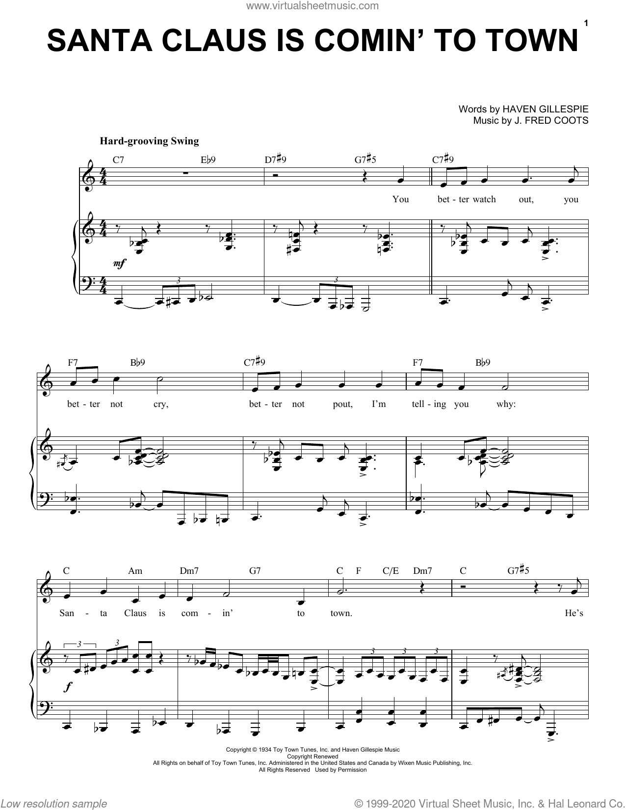 Santa Claus Is Comin' To Town [Jazz Version] (arr. Brent Edstrom) sheet music for voice and piano (High Voice) by J. Fred Coots, Brent Edstrom and Haven Gillespie, intermediate skill level