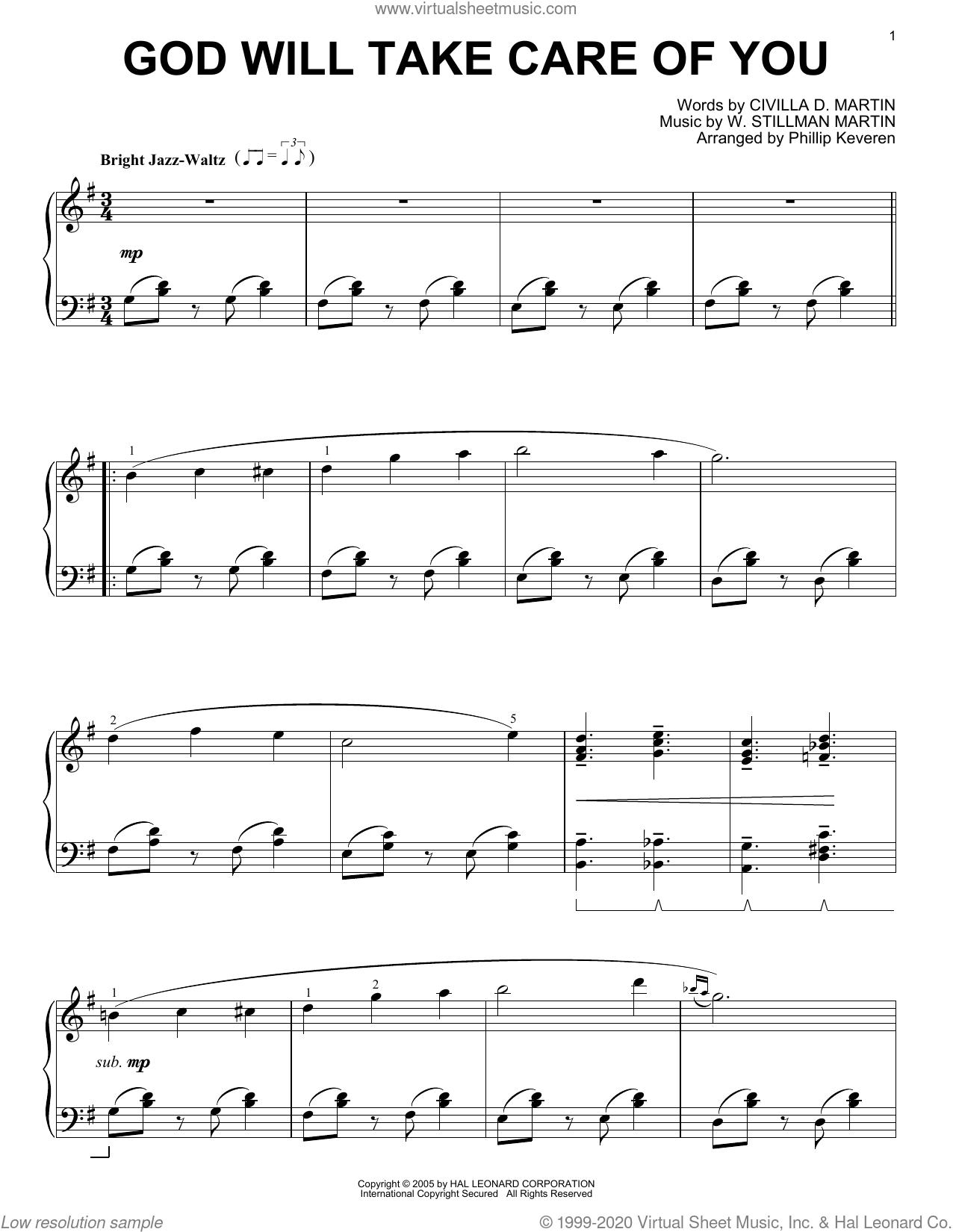 God Will Take Care Of You [Jazz version] (arr. Phillip Keveren) sheet music for piano solo by Civilla D. Martin, Phillip Keveren and W. Stillman Martin, intermediate skill level
