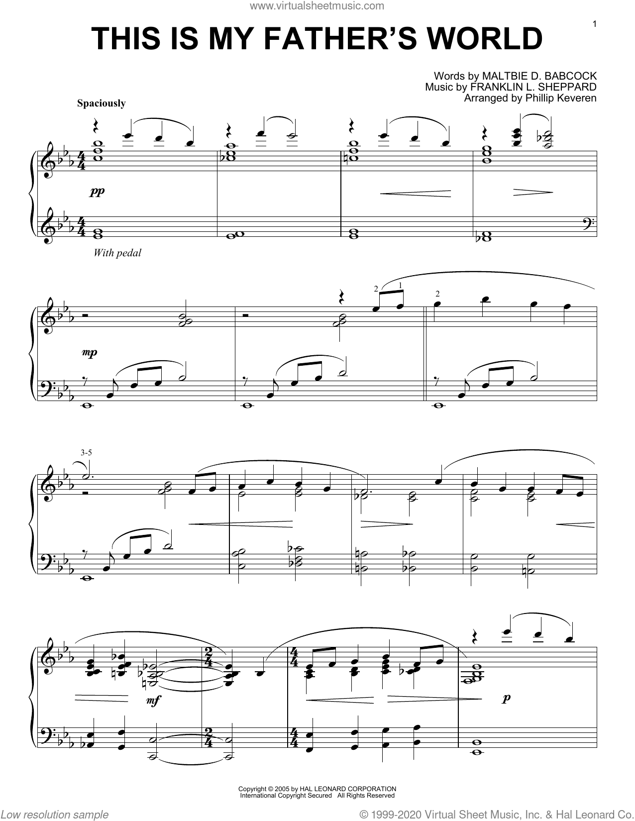 This Is My Father's World [Jazz version] (arr. Phillip Keveren) sheet music for piano solo by Maltbie D. Babcock, Phillip Keveren and Franklin L. Sheppard, intermediate skill level