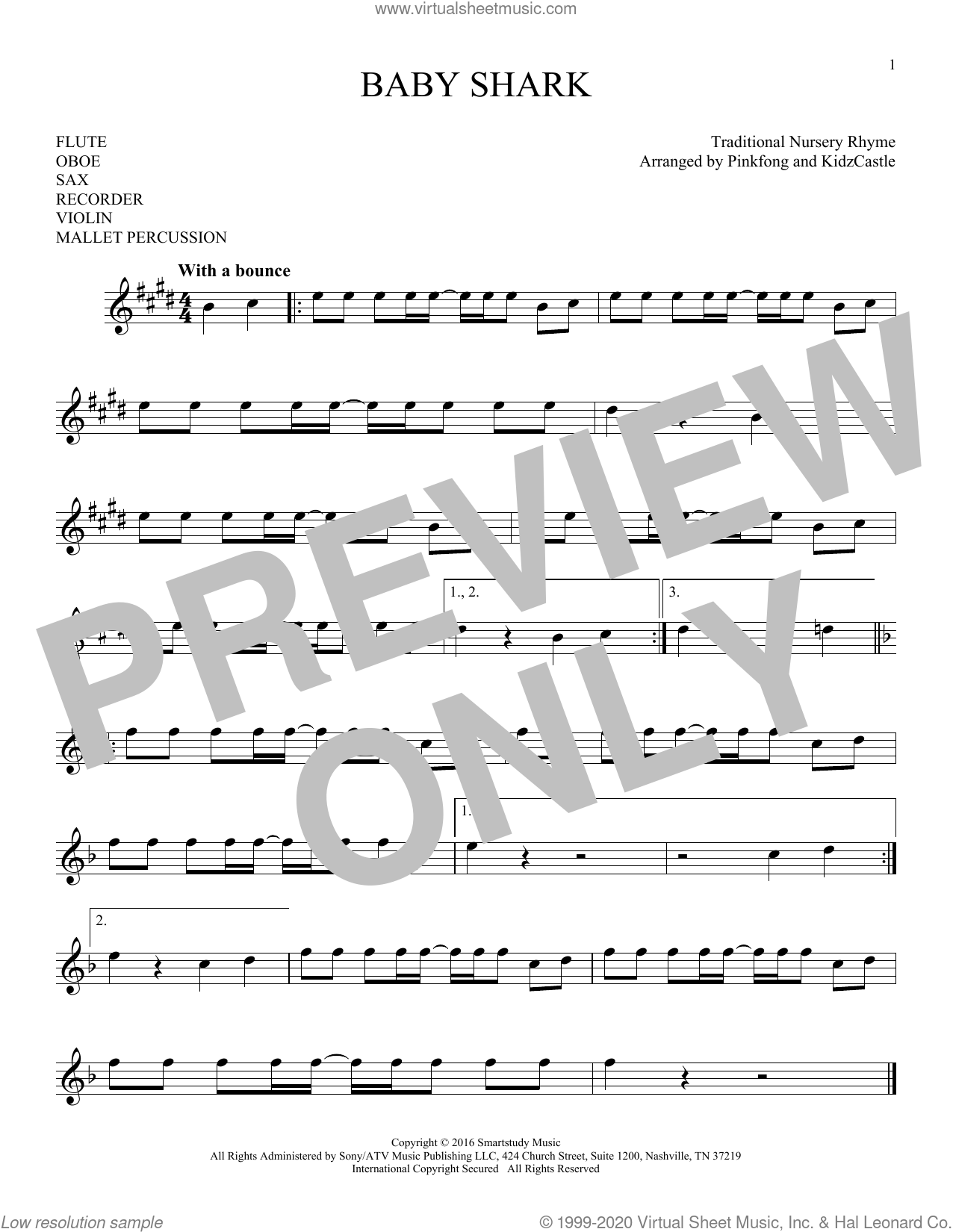Baby Shark sheet music for Solo Instrument (treble clef high) by Pinkfong, KidzCastle and Traditional Nursery Rhyme, intermediate skill level