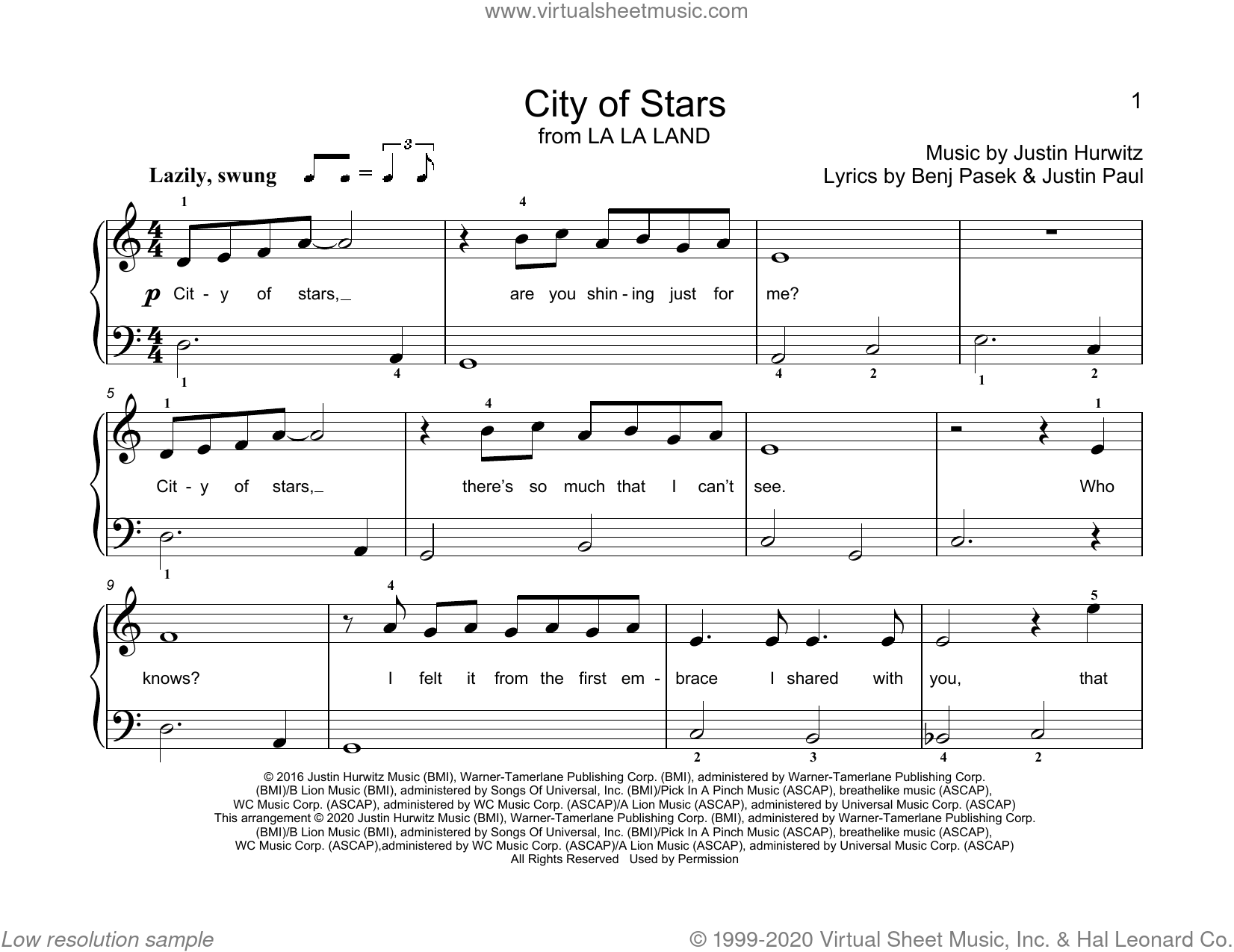 City Of Stars (from La La Land) (arr. Christopher Hussey) sheet music for piano solo (elementary) by Benj Pasek, Christopher Hussey, Justin Hurwitz and Justin Paul, beginner piano (elementary)