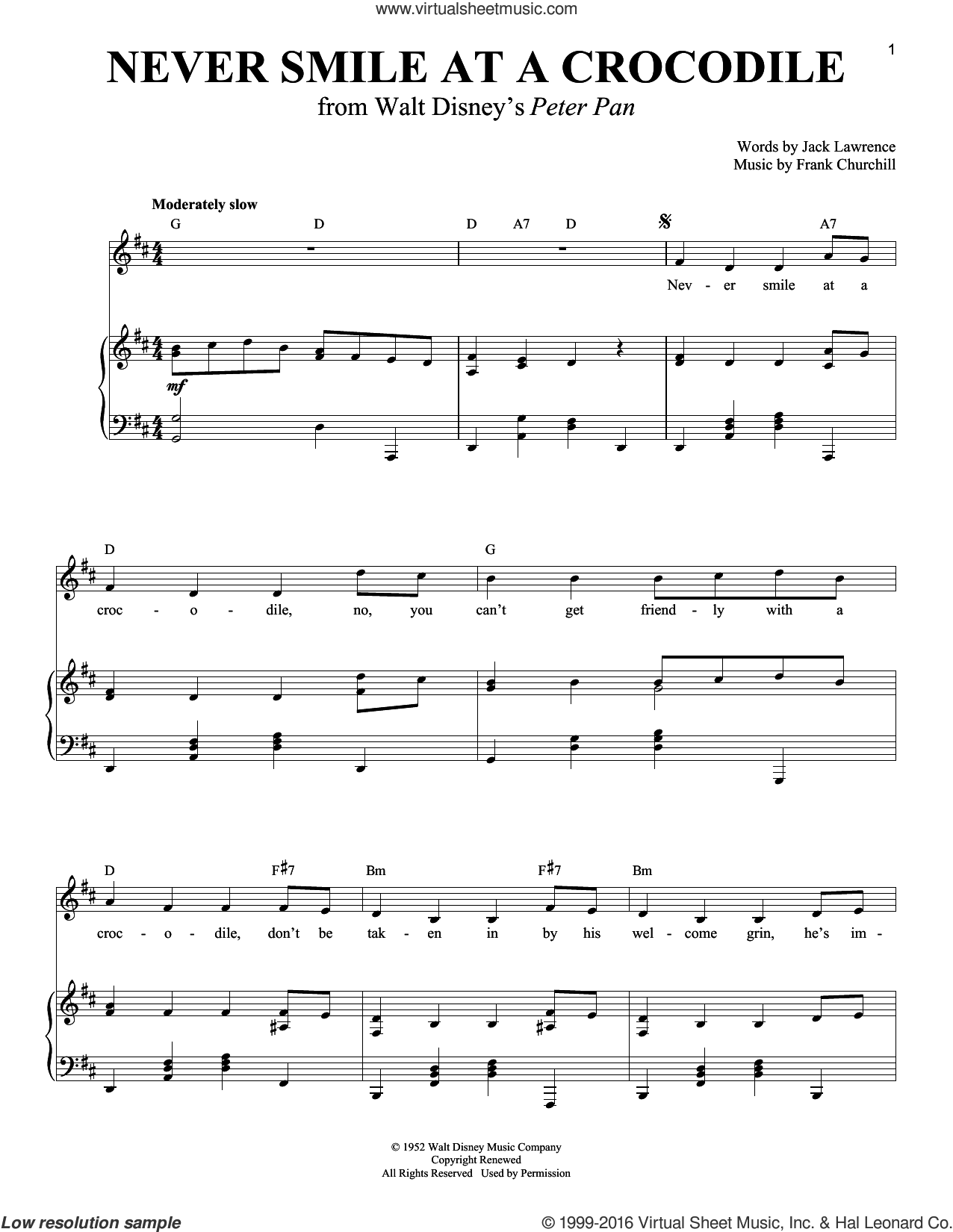 Never Smile At A Crocodile sheet music for voice and piano by Jack Lawrence and Frank Churchill, intermediate skill level