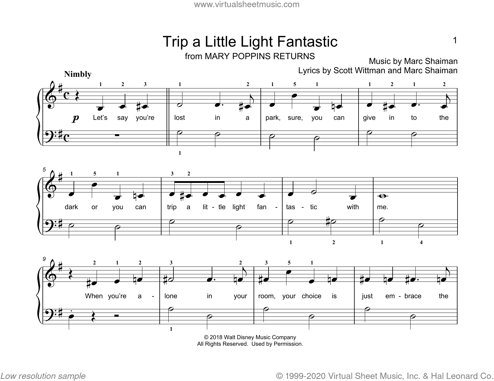 Trip A Little Light Fantastic (from Mary Poppins Returns) (arr. Christopher Hussey) sheet music for piano solo (elementary) by Marc Shaiman, Christopher Hussey, Marc Shaiman & Scott Wittman and Scott Wittman, beginner piano (elementary)