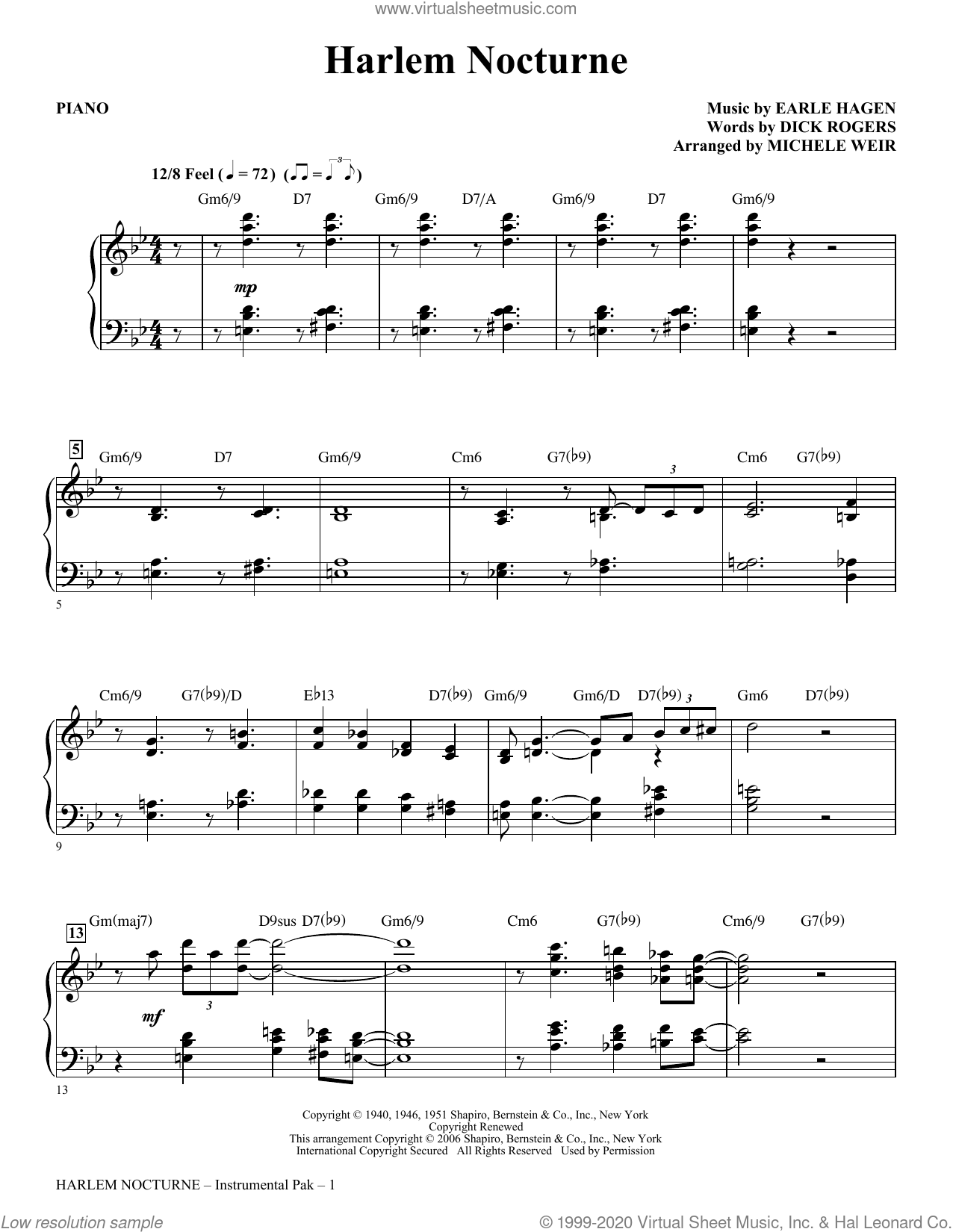 Harlem Nocturne (arr. Michele Weir) (complete set of parts) sheet music for orchestra/band (Rhythm) by Dick Rogers, Earle Hagen, Earle Hagen and Dick Rogers and Michelle Weir, intermediate skill level