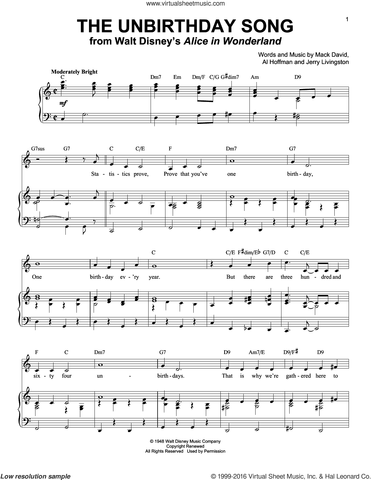 The Unbirthday Song sheet music for voice and piano by Jerry Livingston, Al Hoffman and Mack David. Score Image Preview.