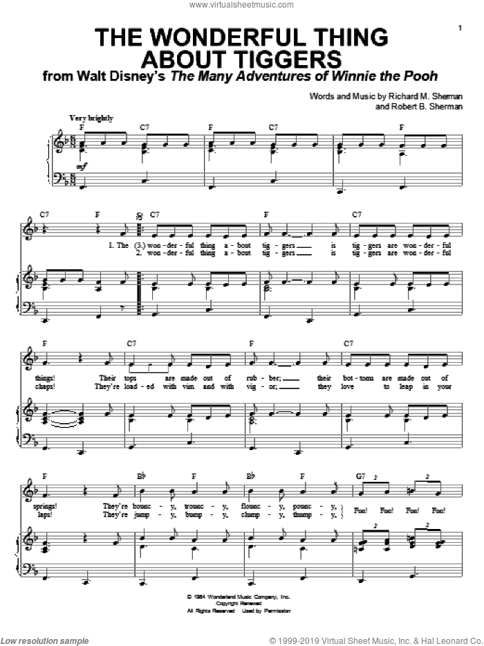 The Wonderful Thing About Tiggers sheet music for voice and piano by Sherman Brothers, Richard M. Sherman and Robert B. Sherman, intermediate skill level