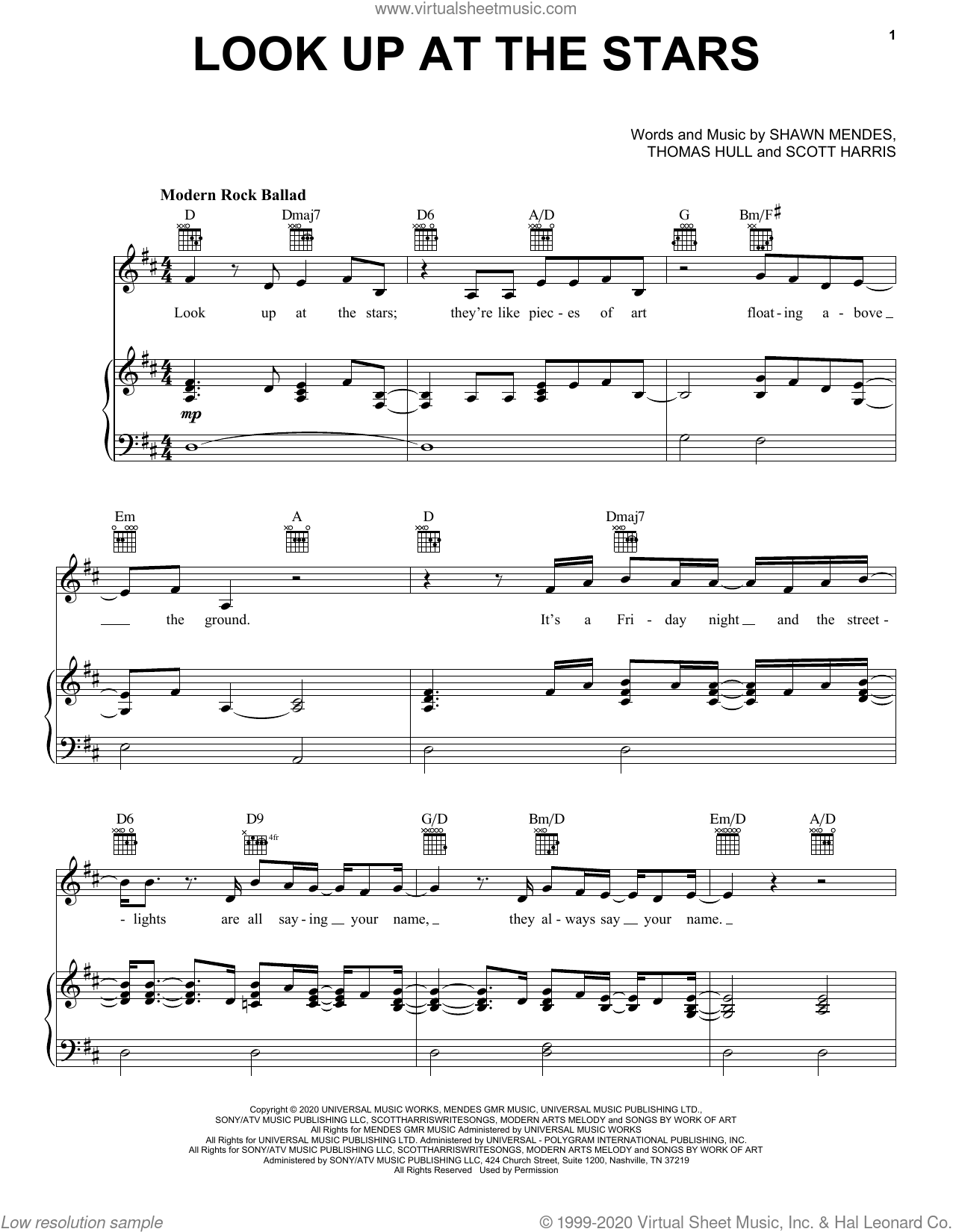 Look Up At The Stars sheet music for voice, piano or guitar by Shawn Mendes, Scott Harris and Tom Hull, intermediate skill level