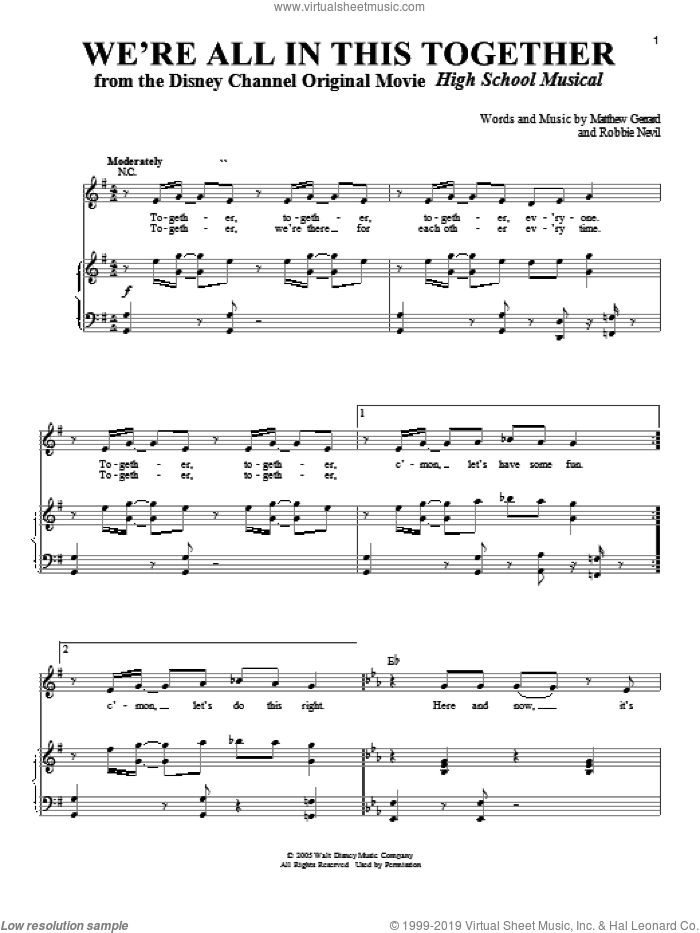 We're All In This Together sheet music for voice and piano by High School Musical, Matthew Gerrard and Robbie Nevil, intermediate skill level