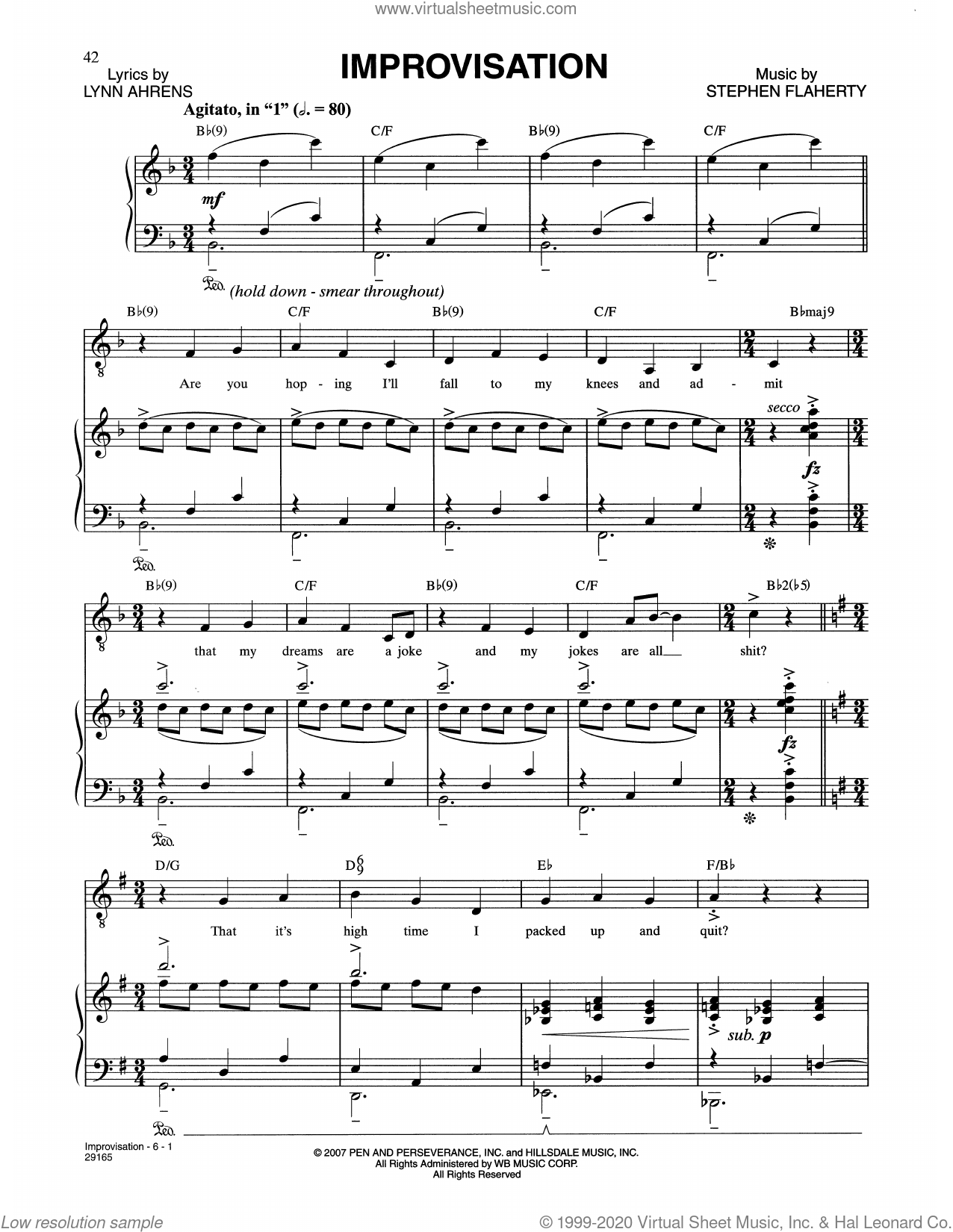 Improvisation (from The Glorious Ones) sheet music for voice and piano by Stephen Flaherty, Lynn Ahrens and Stephen Flaherty and Django Reinhardt, intermediate skill level