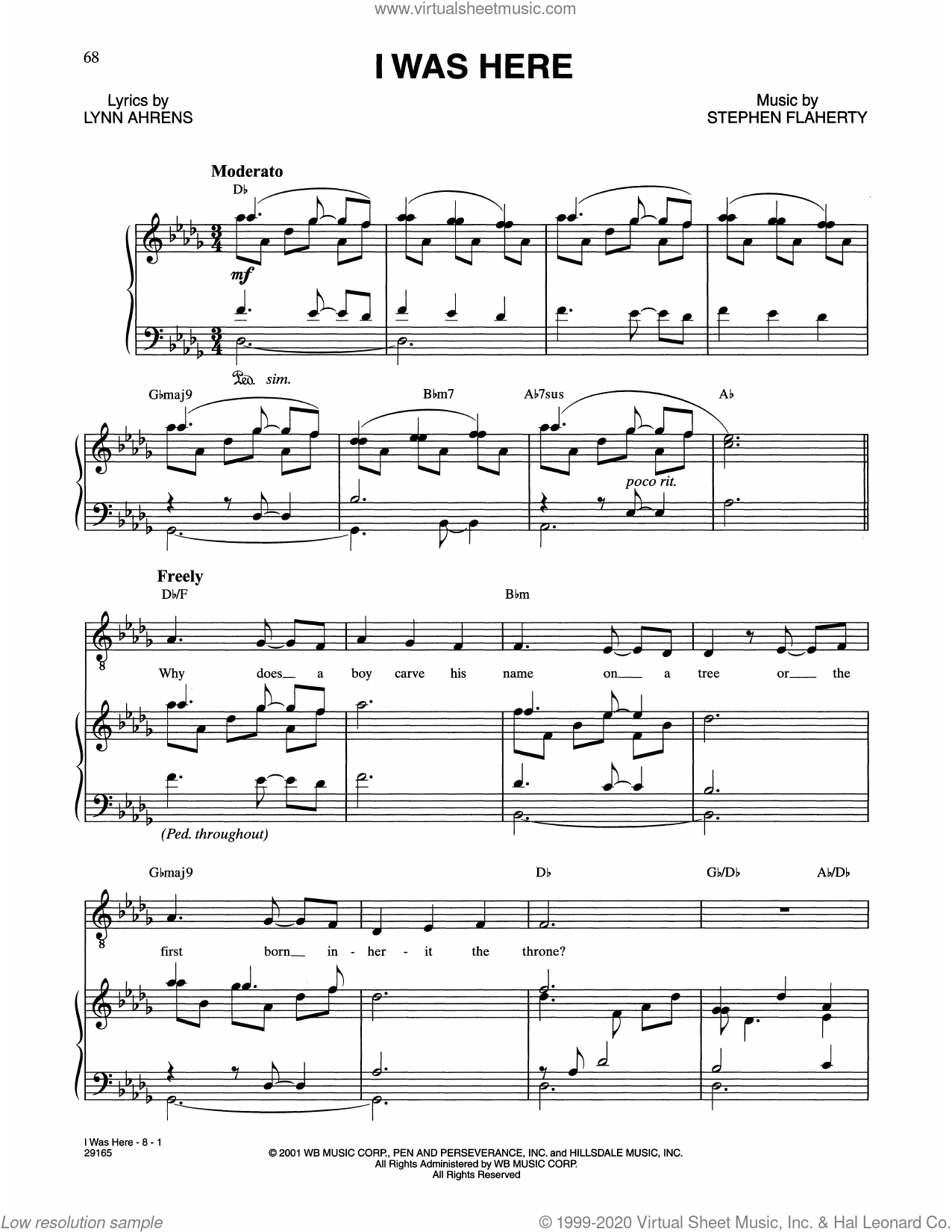 I Was Here (from The Glorious Ones) sheet music for voice and piano by Stephen Flaherty and Lynn Ahrens and Stephen Flaherty and Lynn Ahrens, intermediate skill level