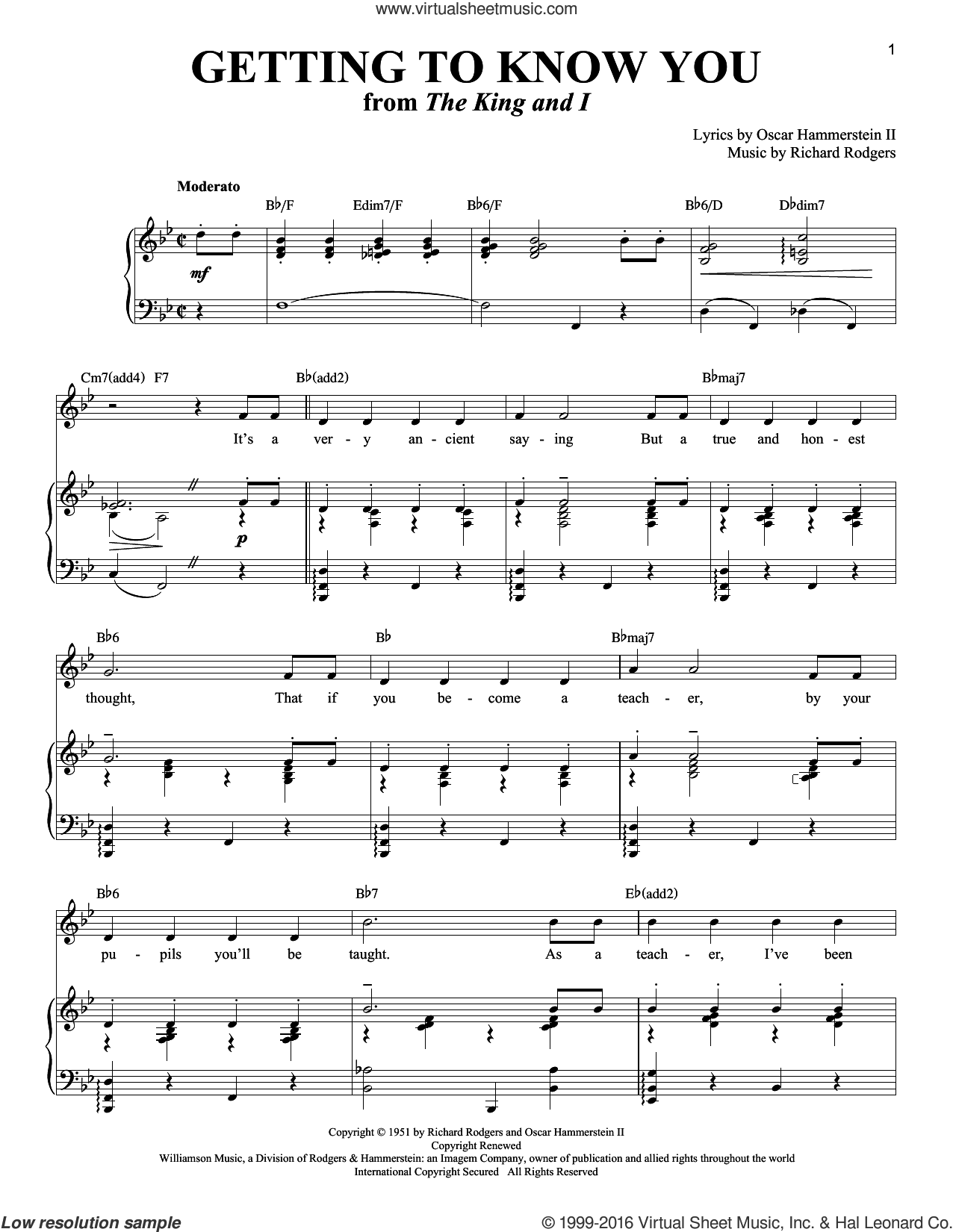 Getting To Know You sheet music for voice and piano by Rodgers & Hammerstein, The King And I (Musical), Oscar II Hammerstein and Richard Rodgers, intermediate skill level