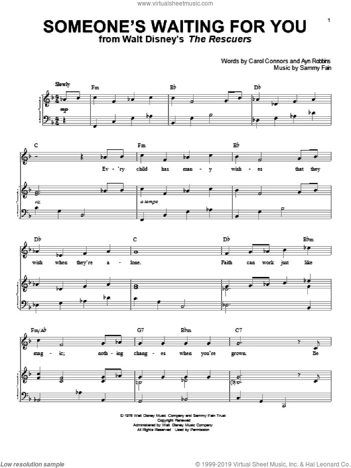 Someone's Waiting For You sheet music for voice and piano by Sammy Fain, Ayn Robbins and Carol Connors, intermediate skill level