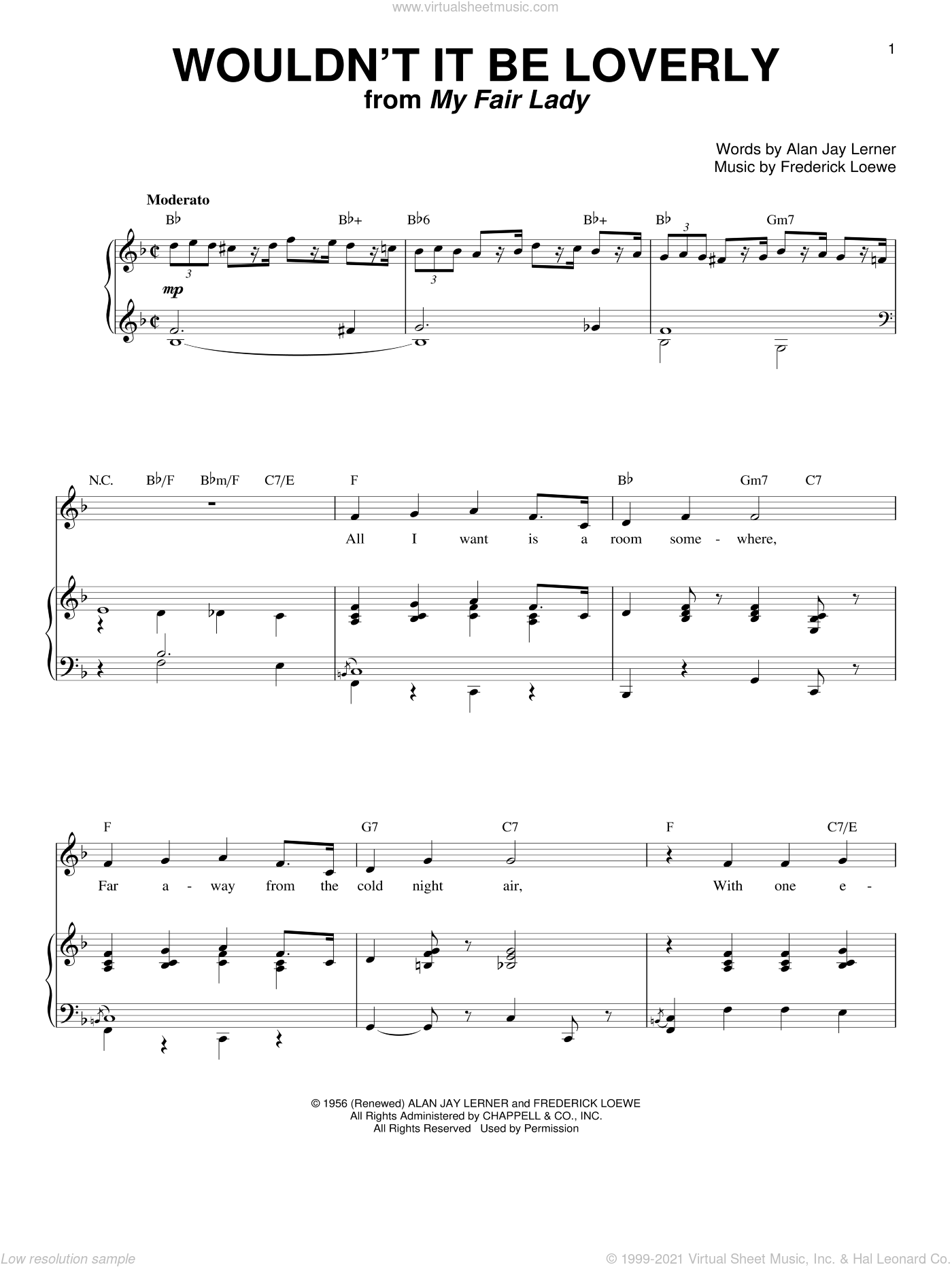Wouldn't It Be Loverly sheet music for voice and piano by Lerner & Loewe, My Fair Lady (Musical), Alan Jay Lerner and Frederick Loewe, intermediate skill level