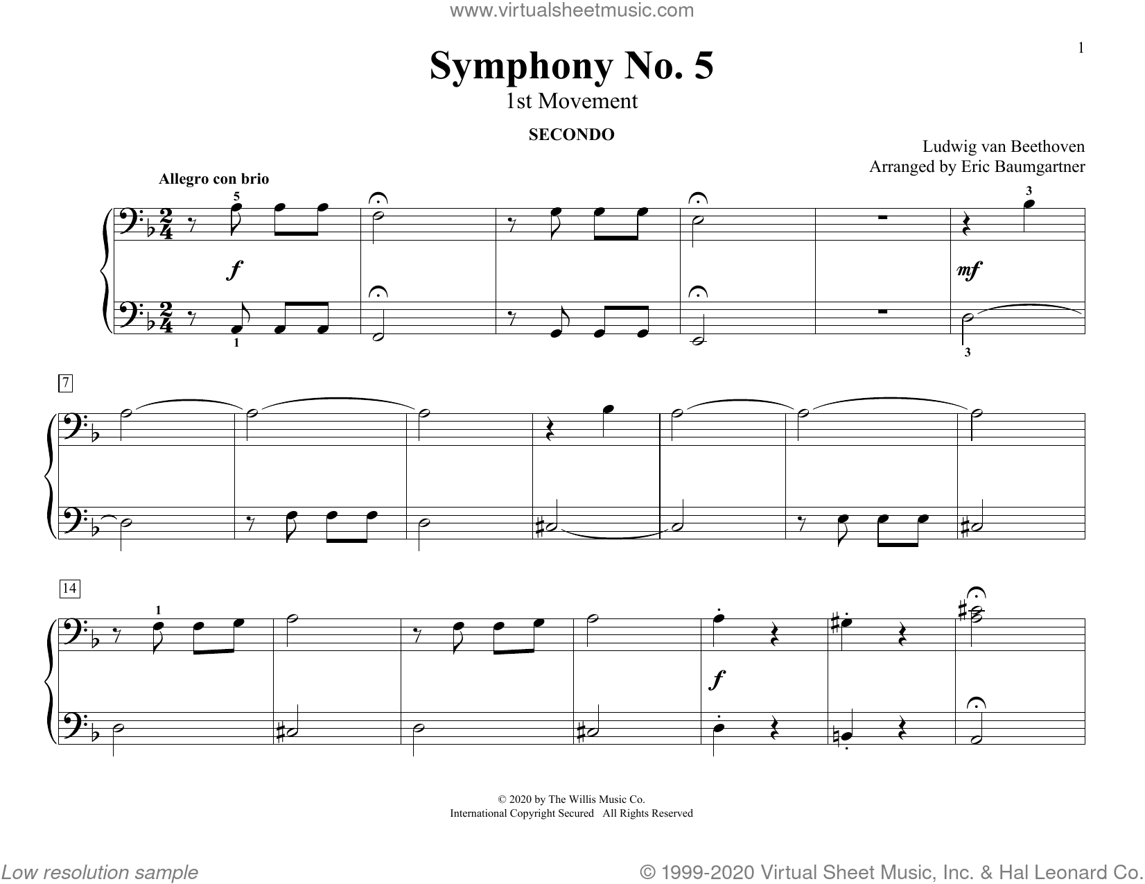 Symphony No. 5 (1st Movement) (arr. Eric Baumgartner) sheet music for piano four hands by Ludwig van Beethoven and Eric Baumgartner, classical score, intermediate skill level