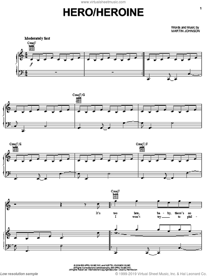 Hero/Heroine sheet music for voice, piano or guitar by Boys Like Girls and Martin Johnson, intermediate