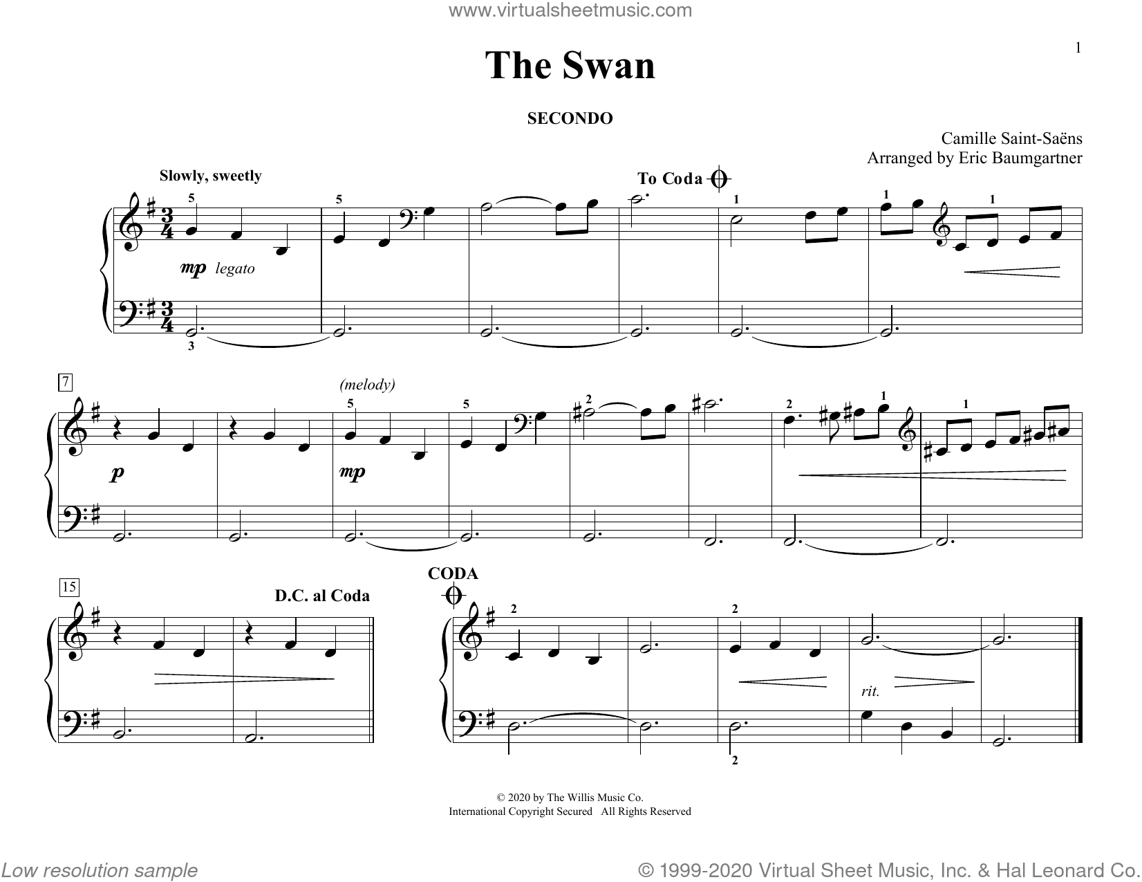 The Swan (arr. Eric Baumgartner) sheet music for piano four hands by Camille Saint-Saens and Eric Baumgartner, classical score, intermediate skill level