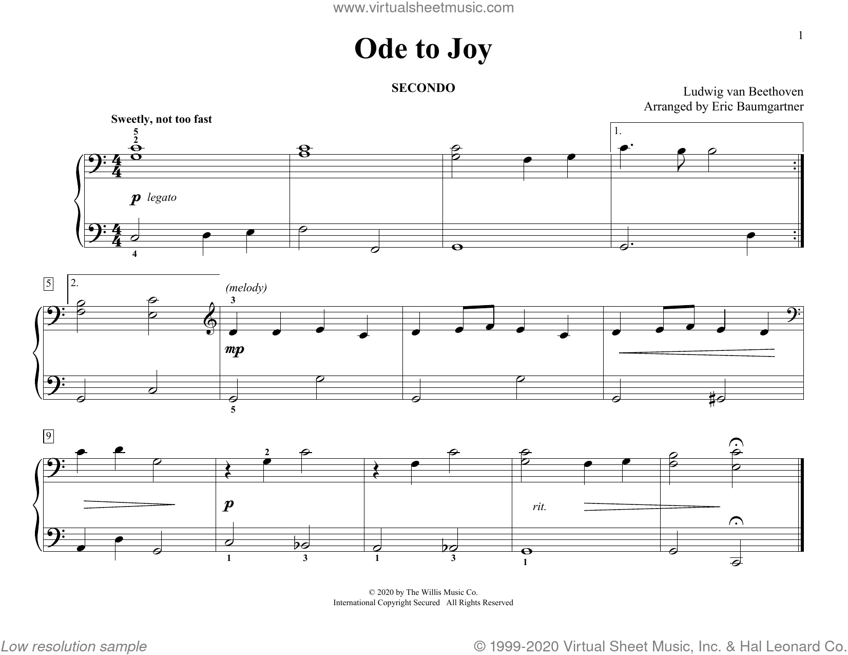 Ode To Joy (arr. Eric Baumgartner) sheet music for piano four hands by Ludwig van Beethoven and Eric Baumgartner, classical score, intermediate skill level