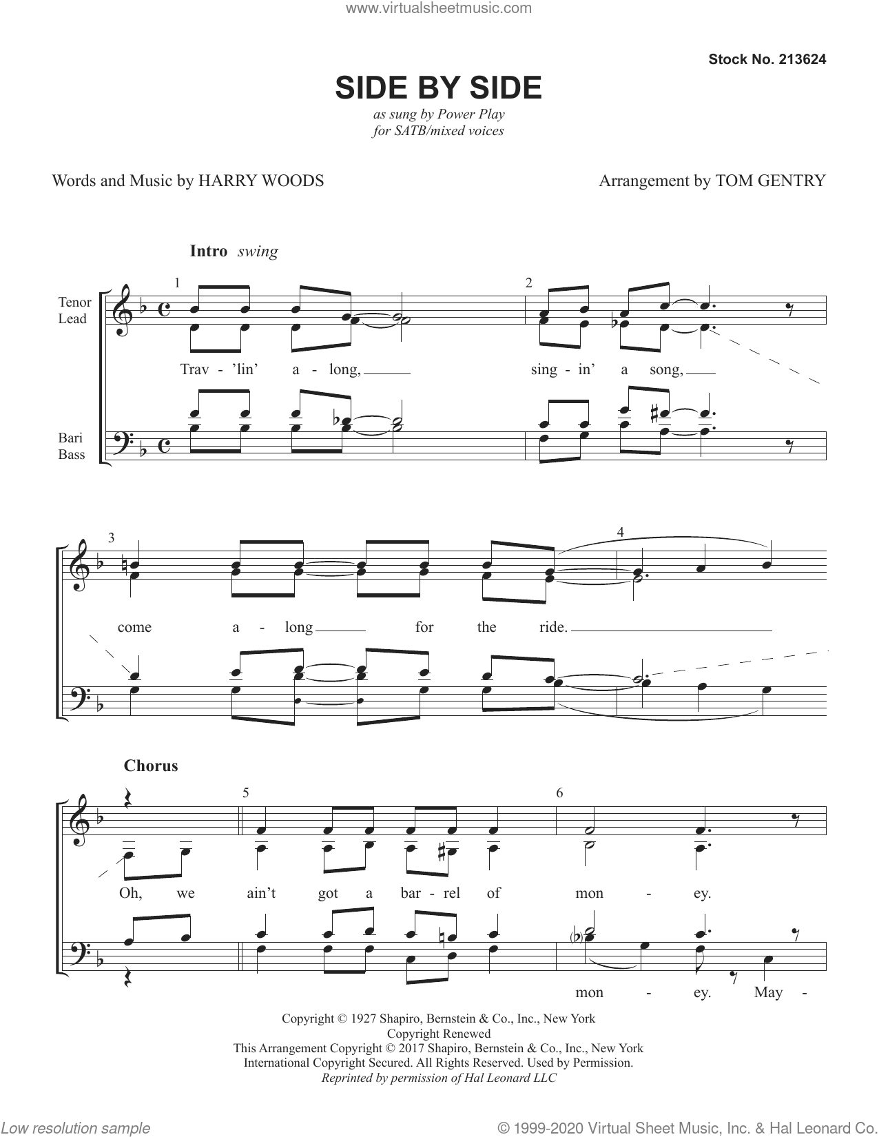 Side By Side (arr. Tom Gentry) sheet music for choir (SATB: soprano, alto, tenor, bass) by Power Play, Tom Gentry and Harry Woods, intermediate skill level