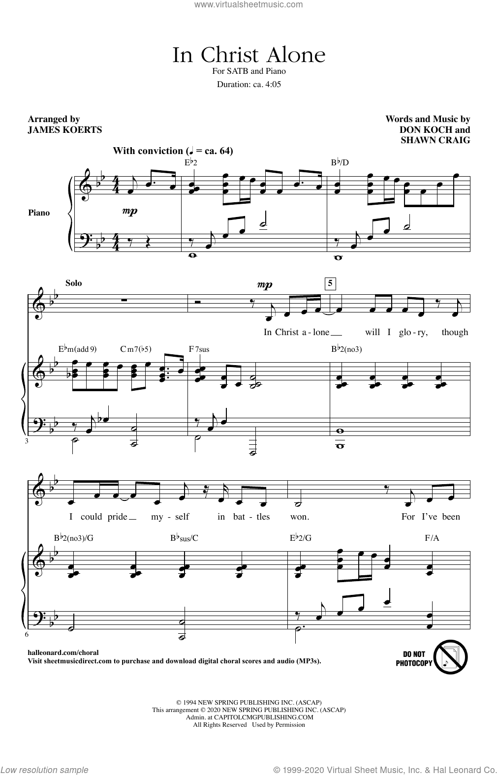 In Christ Alone (arr. James Koerts) sheet music for choir (SATB: soprano, alto, tenor, bass) by Michael English, James Koerts, Don Koch and Shawn Craig, intermediate skill level