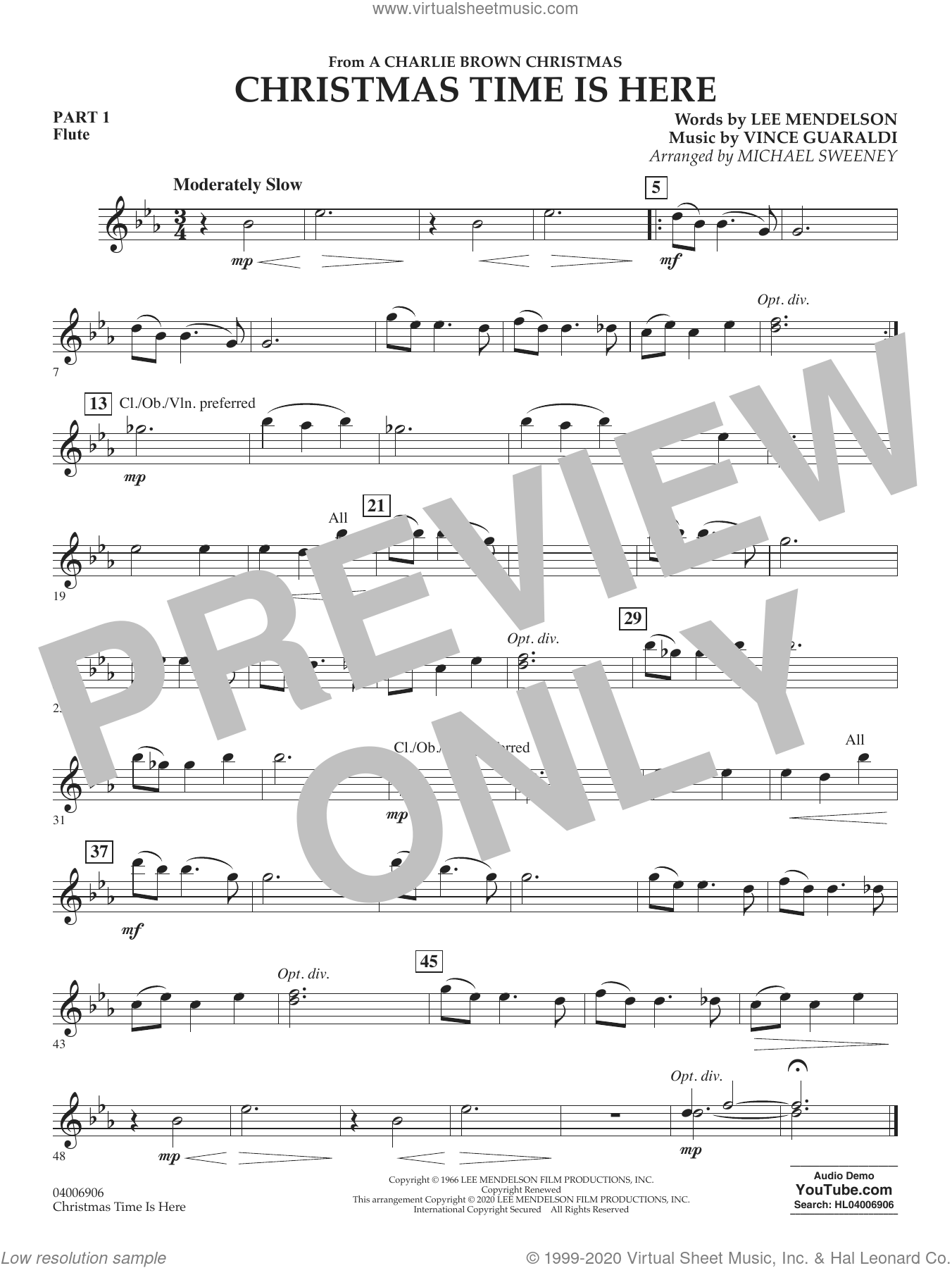 Christmas Time Is Here (arr. Michael Sweeney) sheet music for concert band (pt.1 - flute) by Vince Guaraldi, Michael Sweeney and Lee Mendelson, intermediate skill level