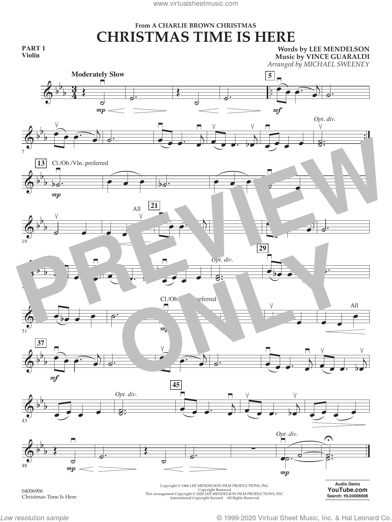 Christmas Time Is Here (arr. Michael Sweeney) sheet music for concert band (pt.1 - violin) by Vince Guaraldi, Michael Sweeney and Lee Mendelson, intermediate skill level