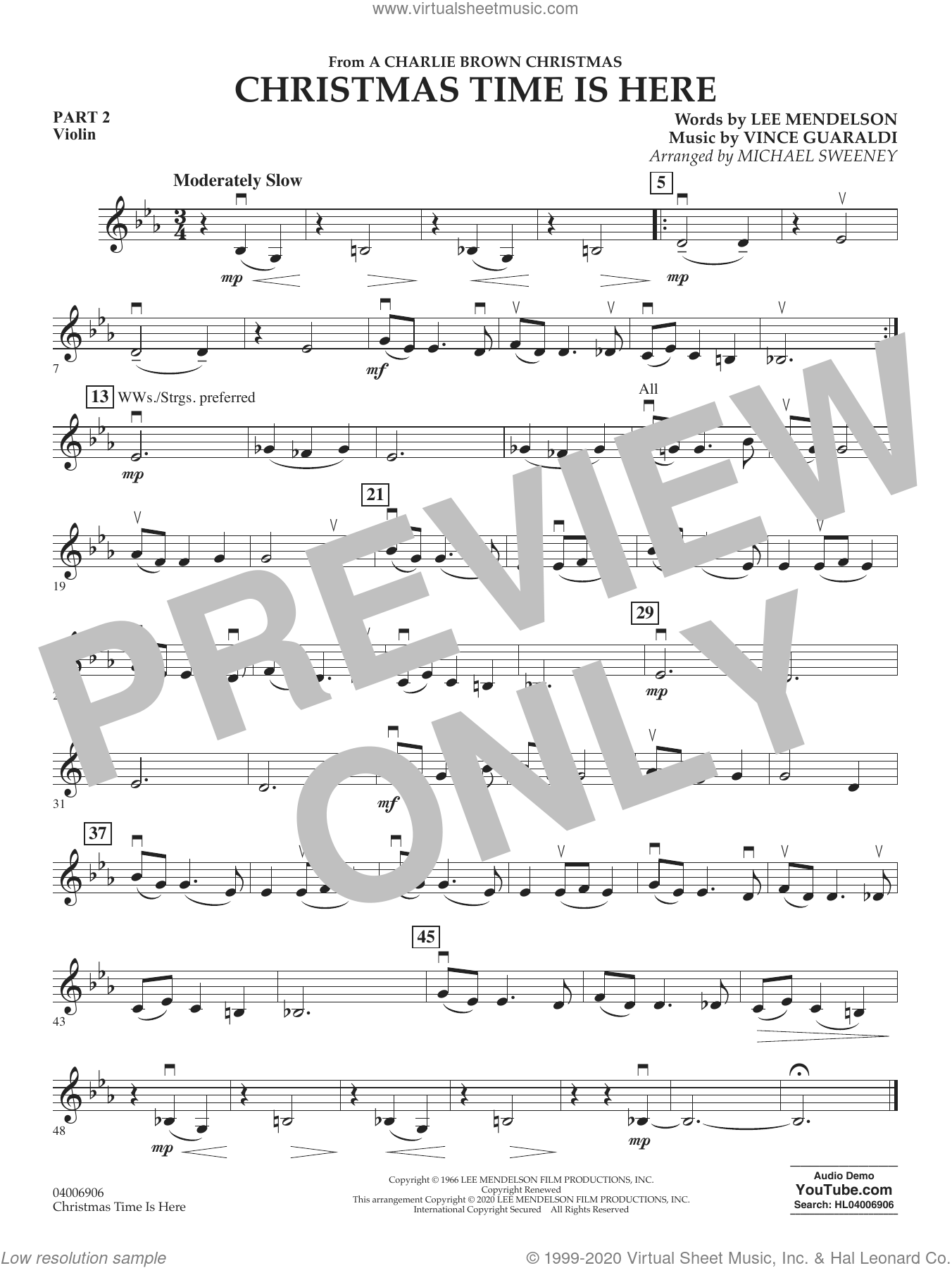 Christmas Time Is Here (arr. Michael Sweeney) sheet music for concert band (pt.2 - violin) by Vince Guaraldi, Michael Sweeney and Lee Mendelson, intermediate skill level