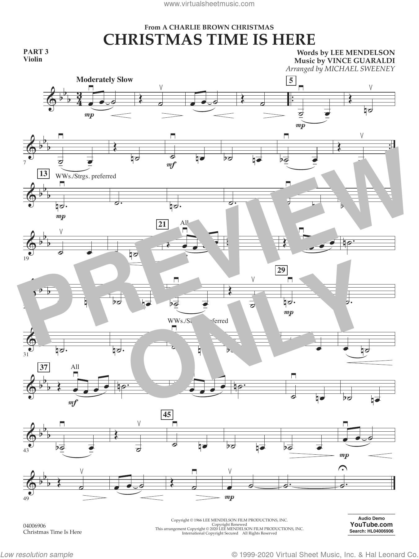 Christmas Time Is Here (arr. Michael Sweeney) sheet music for concert band (pt.3 - violin) by Vince Guaraldi, Michael Sweeney and Lee Mendelson, intermediate skill level